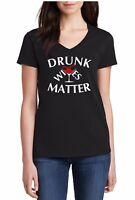Womens V-neck Drunk Wives Matter T Shirt Halloween Oktoberfest Funny Outfit Tee