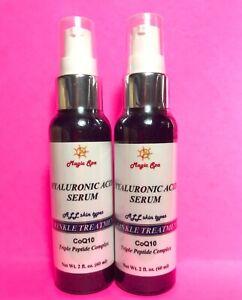 2*2oz HYALURONIC ACID Serum Matrixyl CoQ10 Vitamin C, Anti aging Wrinkle Filler