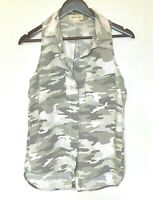 Anthropologie Camouflage Button-Up Cloth & Stone XS Blouse Top Sleeveless Women