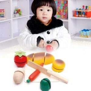 Child Pretend Role Play Kitchen Fruits Vegetables Food Toy Wooden Cutting Set XF