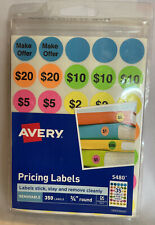 Avery Preprinted Removable Garage Sale Pricing Labels 34 Round Pack Of 350