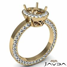 Diamond Engagement Halo Eternity Ring Oval Semi Mount 18k Yellow Gold 1.45 Carat