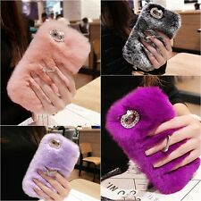 Ring Kickstand Winter Warmer Rex Rabbit Fur Back Case Cover For Samsung/i Phone