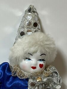 Small Vintage Clown Doll Porcelain Head, Painted Face Bean Bag Body, Sequins
