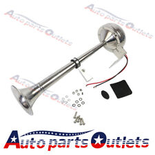 STAINLESS STEEL SINGLE 12V TRUMPET ELECTRIC HORN - MARINE TRUCK CAR BOAT 390mm