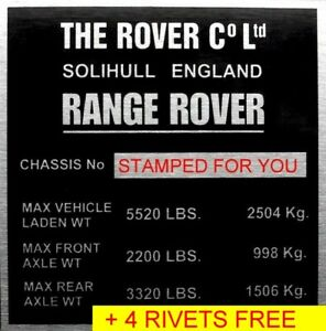 STAMPED Land Range Rover VIN ID Classic 2 Door Chassis Plate Number Engine Bay#