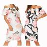 Sleeveless Off Shoulder Women Ladies Bardot Frill Midi Floral Dress UK 8-16