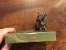 ART DECO ONYX & COLD PAINTED BRONZE SCOTTY TERRIER DOG PIN/ASH TRAY