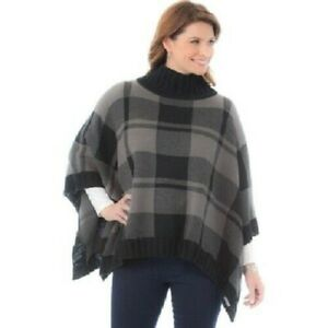 NWT Columbia Women's Be Cozy Sweater Poncho - Grey Black Plaid - One Size
