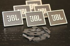 Two New JBL Speaker Grille Metal Badges with Black on Silver Lettering