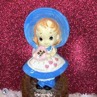 "Vtg Josef Originals Valentine Girl W/ ""Be Mine"" Heart Blue Dress Figurine Japan"
