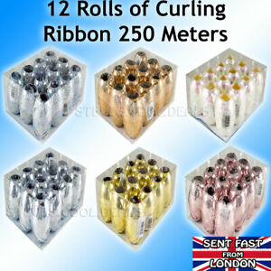 Luxury Curling Ribbon Waterproof 5mm x 20m 12 Rolls Gift Wrap Xmas Ribbons Bows