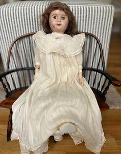 "Antique Minerva Doll Germany Tin Metal Head Handpainted 20 ""Original Clothes"