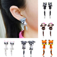 Women Girl Cute 3D Cartoon Animal Cat Dog Polymer Clay Ear Stud Earrings Jewelry