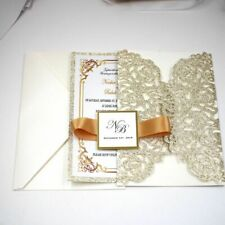 Wedding Invitation Card Supply Glitters Laser Cut Hollow Folding Pocket Type 1Pc