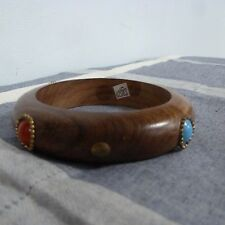 TWOS COMPANY WOOD BRACELET Bangle with Colored Faux Stones Chunky