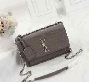 Auth YSL Saint Laurent Sunset Chain Bag in shiny CROCODILE-EMBOSSED leather mini