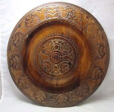 Beautiful etched wood plate with brass inlay