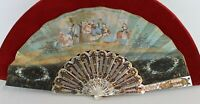 SUPERB ANTIQUE FRENCH CARVED MOTHER OF PEARL HAND PAINTED PAPER SCENE FAN
