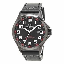 TW Steel Men's Pilot Grey Dial Grey Leather Strap Quartz Titanium Watch TW420