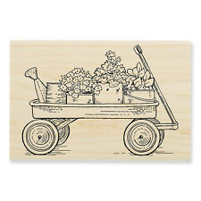 Spring Garden Flower Wagon Wood Mounted Rubber Stamp Stampendous P299 NEW