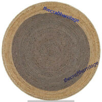 Handmade Natural Jute Rug Braided Rug Round 3 Feet Dining Floor Living Area Rug