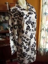 sz 10 True Vtg 70s HANDMADE COLLARED FLORAL PRINT BLACk/WHITE MOD MOM Dress