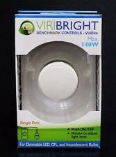 VIRIBRIGHT Push ON/OFF Switch Rotary Light Dimmer Universal LED Dimmer WHITE