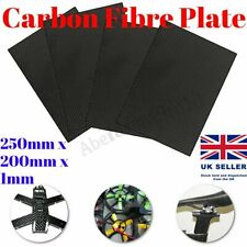 Carbon Fibre Plate Panel Sheet 100% 3K Weave Glossy Plain 250 x 200 x 1mm Black