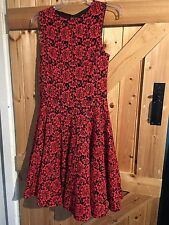 """Gorgeous Fitted Dress By Definitions Size 12. Red & Black Net  Frilled 36"""" Bust"""