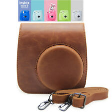 For Fujifilm Instax Mini 9 Film Camera PU Leather Shoulder Bag Case Cover Brown