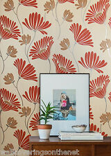 Red, Silver, Brown & Cream, Modern Flower Patterned Wallpaper, (Paste the Wall)