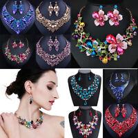 Women Wedding Luxury Caystal Rhinestone Choker Bib Necklace Bridal Jewelry Set