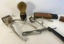 Set ancien de barbier coiffeur: coupe-chou, blaireau, tondeuses…