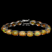 NATURAL AAA RAINBOW OPAL 9X7MM. OVAL CABOCHON STERLING 925 SILVER BRACELET 8