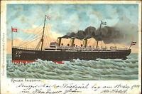 Schiffe & Seefahrt alte Litho-AK ~1900 Dampfer Schiff Kaiser Friedrich ungelauf.
