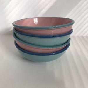 "Vtg MCM Rio Japan Stoneware Bowls Pastel Pink Blue Mid Century Modern 6.75"""