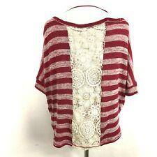 Roxy Sweater Knit Cropped Open Crochet Back Stiped Red Cream Ivory Dolman Sleeve