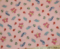 Marcus Bros Butterflies, Snails, Ladybug, Bees & More on Pink Flannel Fabric-BTY