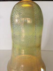 "Huge Murano Bavai Art Glass Olive Green Pendant Light Shade, 20"" Tall x 13"" W"