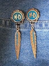 Silver HD/ Turq & Feather w/ inlay post Earrings  * biker* harley* motorcycle