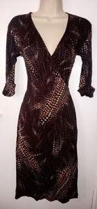 River Island Womens Brown Short Sleeve Midi Wrap Dress: UK Size 8