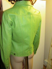 Punk Rock High Quality parrot Green Leather Women Unique Casual Fall Jacket Sz M