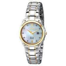 Seiko Solar SUT214 Ladies Two Tone Steel Diamond Mother Of Pearl Date 30mm Watch