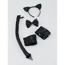 Women's SEXY BLACK CAT ANIMAL SET HALLOWEEN Ladies Fancy Dress Costume Accessory