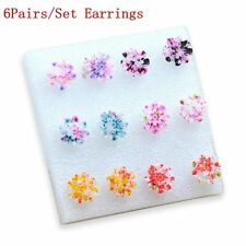 6Pairs/Set Colorful Jewelry Flower Ear Stud Resin Daisy Earring Set
