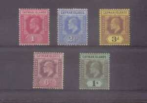 Cayman Islands Edward VII 1907-09 Five values to 1/- mounted mint