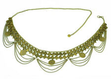 """New arrival Bronze Metal Dangle """"Coins"""" Belly dance belt Chain body Necklace"""