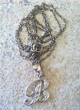 "Sterling Silver Rhodium Plated Diamond ' B ' Pendant on 19"" Chain"