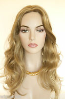 Light golden reddish brown Frost Blonde Long Monofilament Wavy Straight Wigs